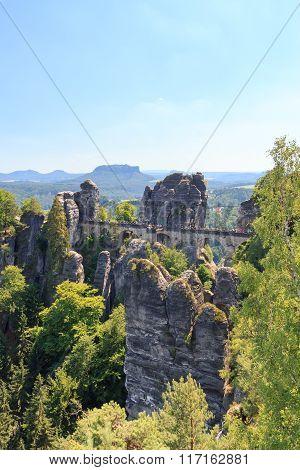Bastei Bridge And Table Mountain Lilienstein In Rathen, Saxon Switzerland