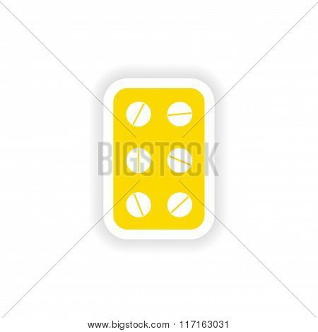 icon sticker realistic design on paper plate pills