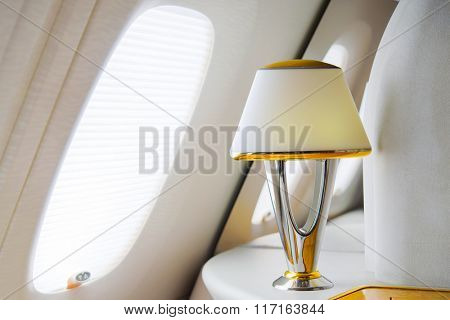 DUBAI, UAE - MARCH 31, 2015: Emirates Airbus A380 first class private suite interior. Emirates is one of two flag carriers of the United Arab Emirates along with Etihad Airways and is based in Dubai.