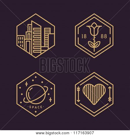 Set Of Line Art Flat Vector Decorative Elements. Modern City, Space, Love