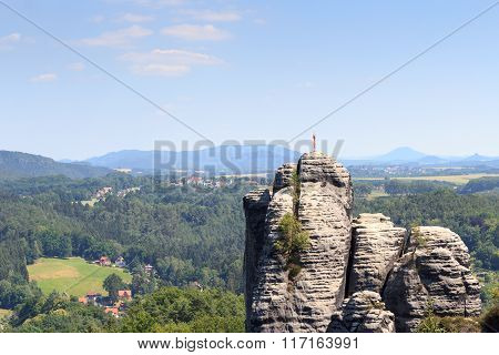 Rock Pinnacle Monch With Weather Vane Near Rathen In Saxon Switzerland
