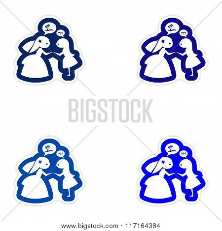 Set of paper stickers on white background Bride with friend