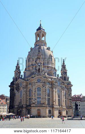Church Dresden Frauenkirche at Neumarkt in Dresden, Germany