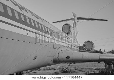 Panoramic View Of Old Soviet Aircraft Tu-154 Tupolev At An Abandoned Aerodrome