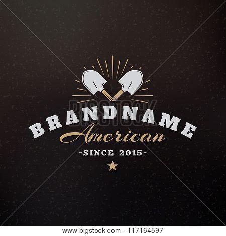 Crossed Shovels. Vintage Retro Design Elements For Logotype, Insignia, Badge, Label. Business Sign T