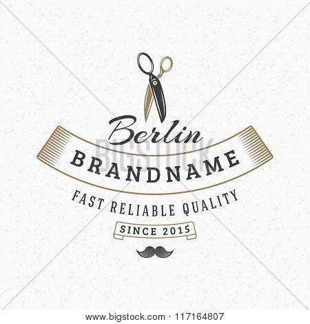 Barber Scissors. Vintage Retro Design Elements For Logotype, Insignia, Badge, Label. Business Sign T