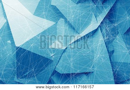 Wire-frame Mesh Over Blue Polygonal Background, 3D