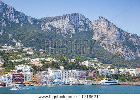 Entrance Of Capri Island Port, Italy, Bay Of Naples