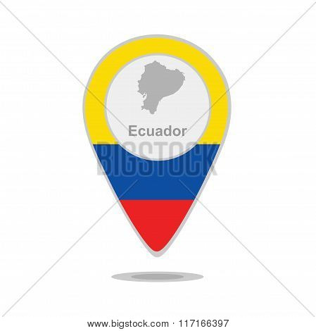 A pointer with map and flag of Ecuador