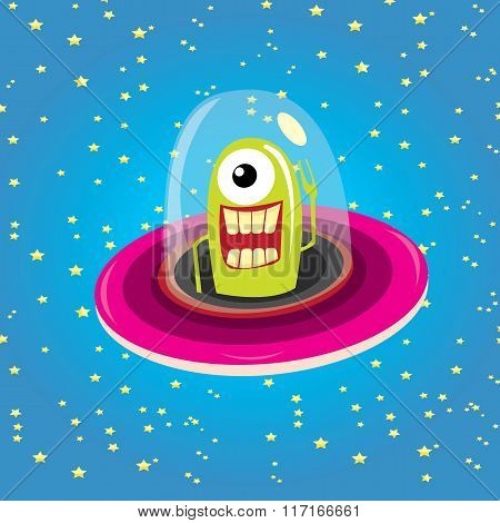 ufo. alien vector. flying saucer