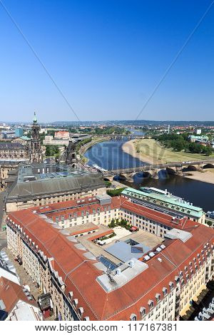 View Of Dresden Cityscape With River Elbe, Saxon Standehaus And Church Dresden Cathedral