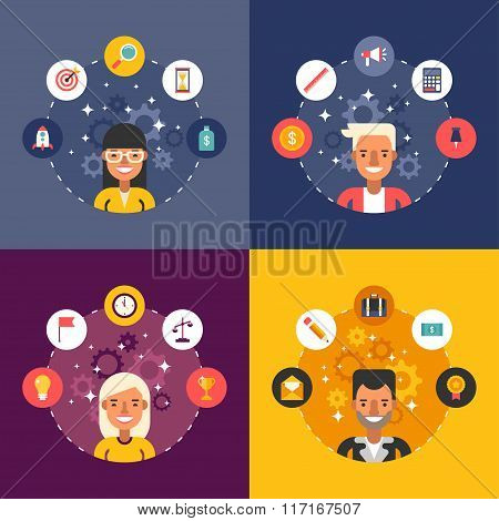 Set Of Vector Illustrations In Flat Design Style. Business Icons And Objects In The Shape Of Circle.