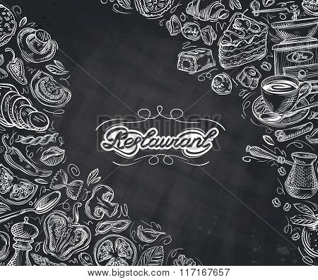restaurant. hand-drawn sketches on the theme of food and drinks. vector illustration