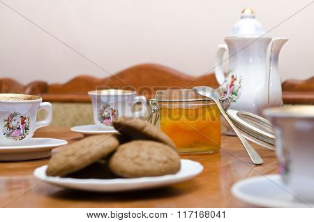 tea with cookies and jam