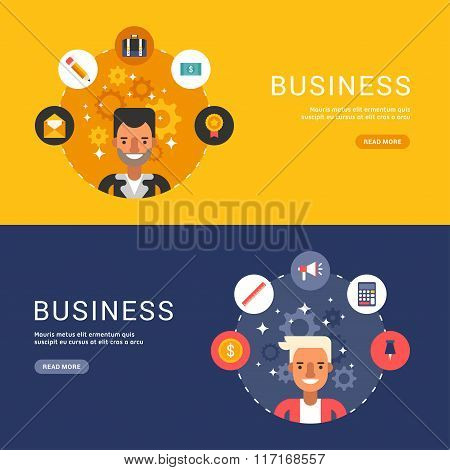 Flat Design Concept For Web Banners. Business Icons And Objects In The Shape Of Circle. Male Busines