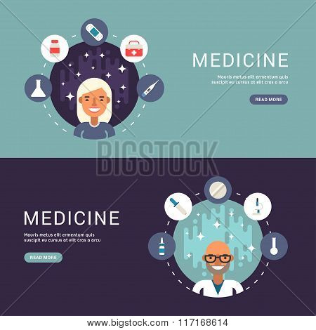 Flat Design Concept For Web Banners. Medical Icons And Objects In The Shape Of Circle. Male And Fema