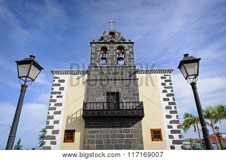 Front View Of St. John The Baptist Church In Puntallana, La Palma, Spain