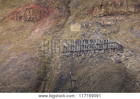 Abandoned Wooden Coal Mine Transportation Station In Svalbard, Norway
