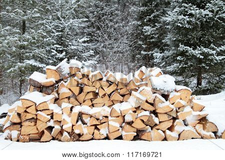 Firewood in snow