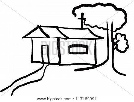 Hand Drawn Design House And Tree In The Countryside.