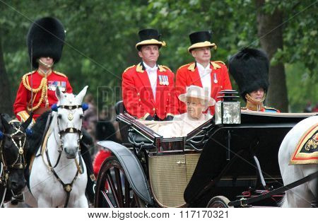 London, Uk - June 13: Queen Elizabeth Appears During Trooping The Colour Ceremony, On June 13, 2015