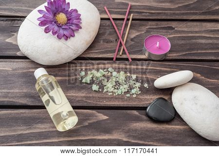 Spa Concept. Lavander Oil Flowers,candle, Aromatic Salt, And Stone