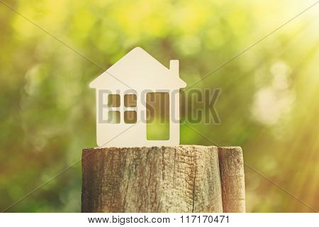 Small model of house on stump on green blurred background