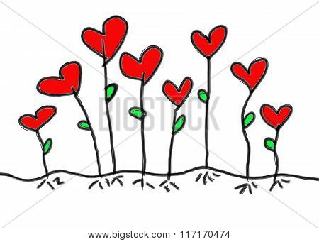 Red Heart In Hand Drawn Design Idea Tree Of Love For Valentine's Day.