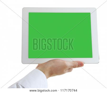 Male hand holding digital tablet isolated on white