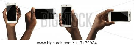 Set of man hands holding smart phone in different ways, isolated on white