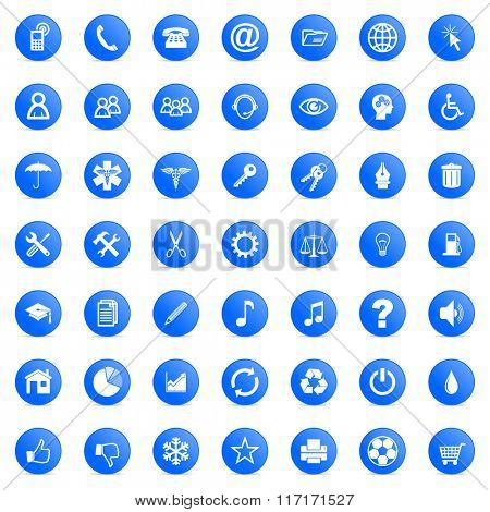 business and technology internet blue icons set