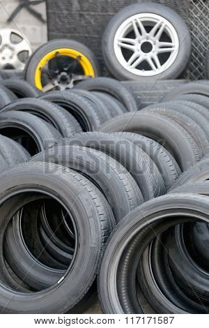 Pile Of Used Rubber Tyres.