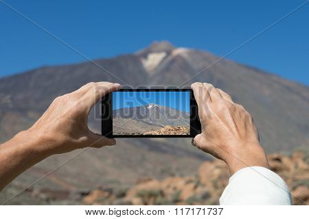 Photographing volcanic landscape