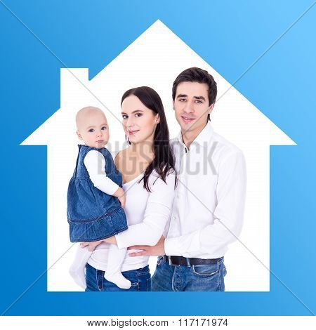 Family And Home Concept - Happy Young Parents With Little Daughter In House Frame