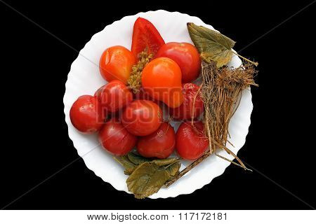 Marinated Tomatoes With Aromatic Herbs On A White Plate. Composition Tomatoes Marinated With Spices