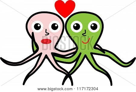 Two Octopuses In Love For Valentine's Day