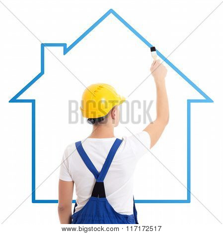 Construction Concept - Man In Builder Uniform Drawing House With Paint Brush Isolated On White