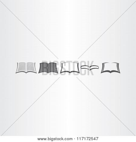 Open Book Icons Set Vector Design Elements