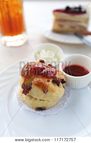 Strawberry Jam With Walnut And Chocolate Chip Muffins.