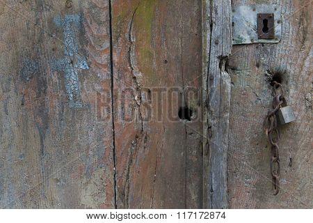 Old barn door padlock