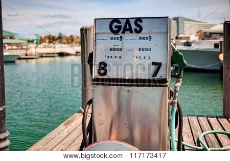 Gas station at the boat pier. Freeport Bahamas