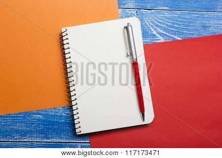 Top View of Creative Writing Concept With Pencils, Book, Notepad on Wooden Table. Copy space for tex