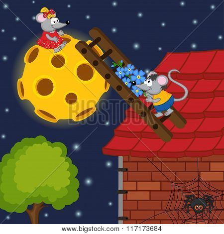 mouse climbs the ladder to the moon