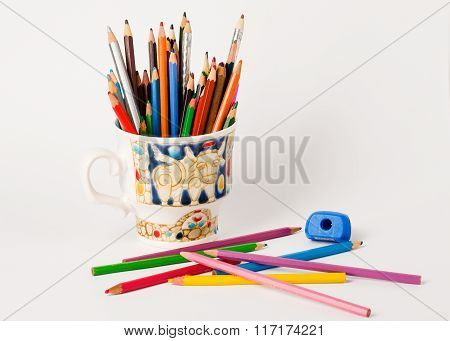 Art And Creativity.colourful  Pencils In The Cup