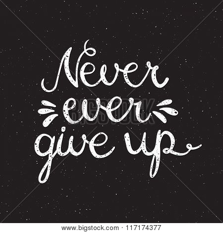Never ever give up inspiration quotation.