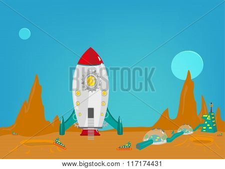 Mission to another planet like mars with a small colony of men from earth. Editable Clip art.