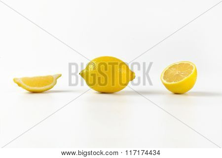 fresh juicy lemons on white background