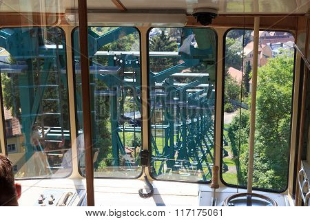 Inside Dresden Suspension Railway car, Saxony, Germany