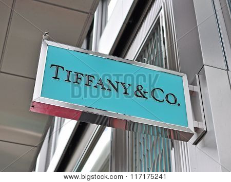 GENEVA, SWITZERLAND - SEPTEMBER 3, 2015: Logo of Tiffany & Co store in the store in Geneva on September 3, 2015. Tiffany&Co is an American worldwide luxury jewelry and specialty retailer