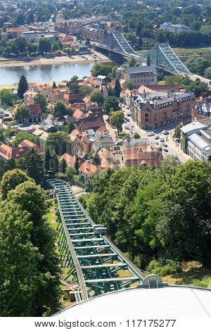 Dresden Suspension Railway Tracks, River Elbe And Bridge